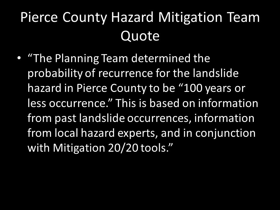 Pierce County Hazard Mitigation Team Quote