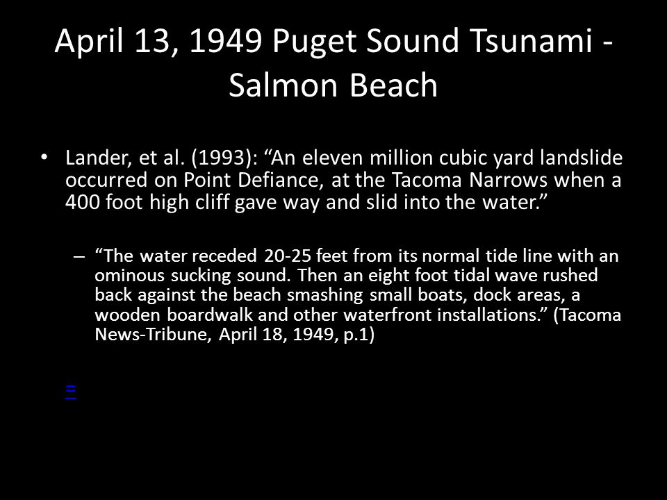 April 13, 1949 Puget Sound Tsunami - Salmon Beach