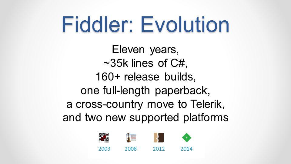 Fiddler: Evolution Eleven years, ~35k lines of C#,