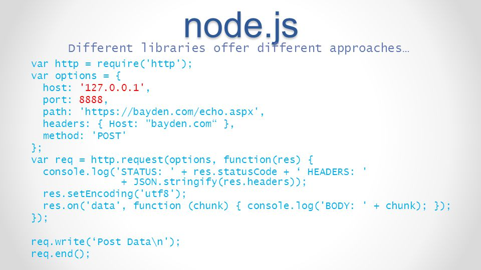 node.js Different libraries offer different approaches…