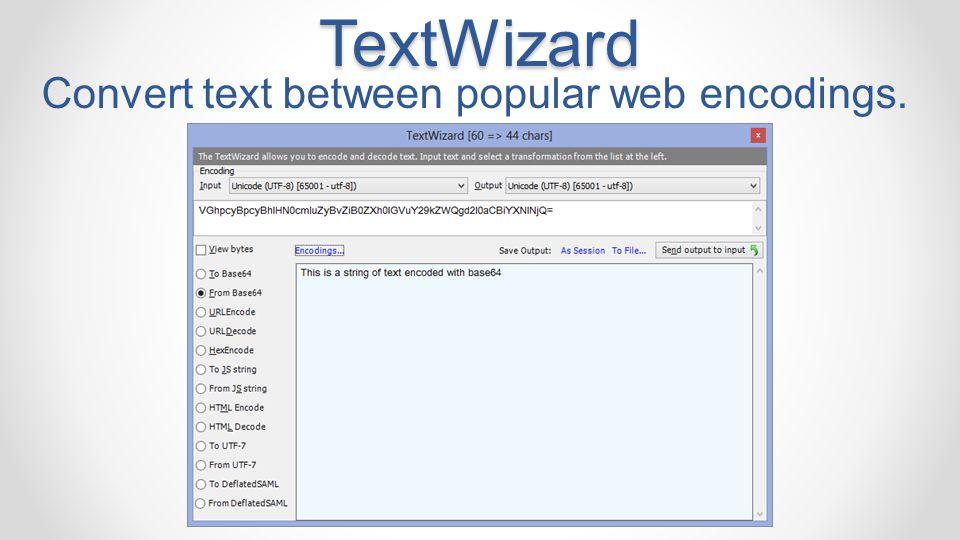 Convert text between popular web encodings.