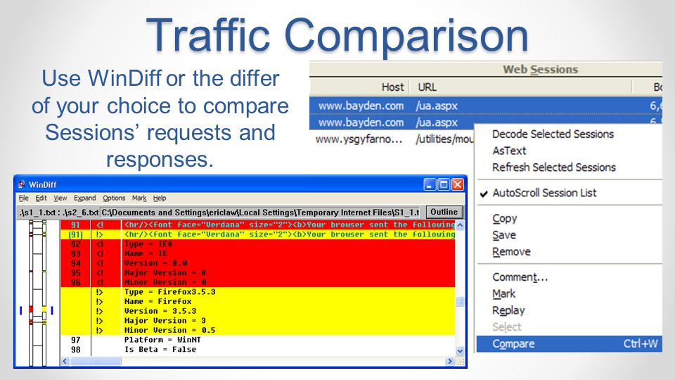Traffic Comparison Use WinDiff or the differ of your choice to compare Sessions' requests and responses.