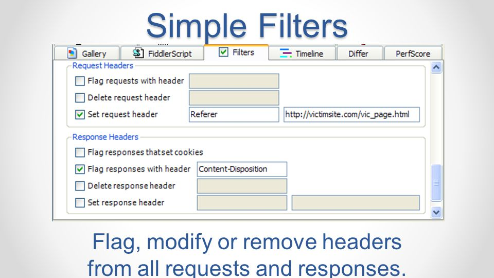 Flag, modify or remove headers from all requests and responses.