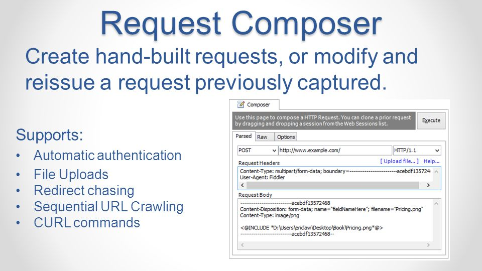 Request Composer Create hand-built requests, or modify and reissue a request previously captured. Supports: