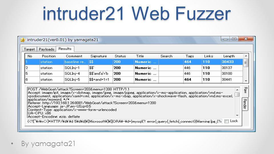 intruder21 Web Fuzzer By yamagata21 MIX 11 4/14/2017