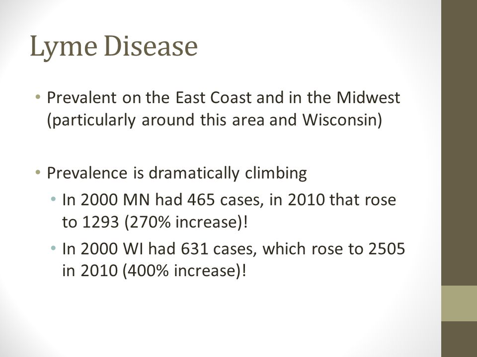Lyme Disease Prevalent on the East Coast and in the Midwest (particularly around this area and Wisconsin)