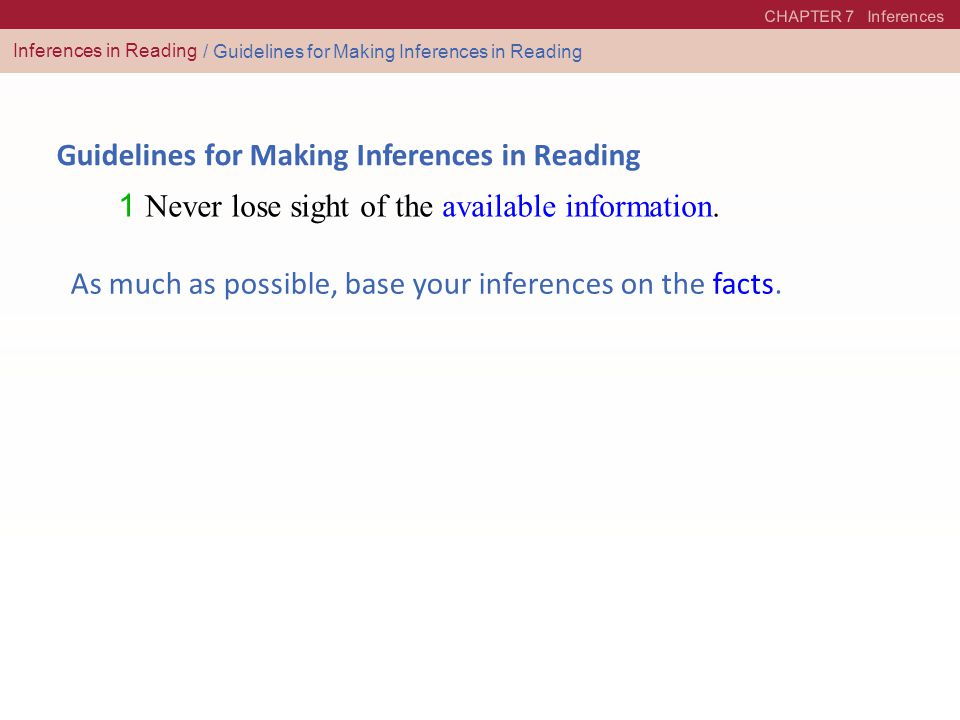 Guidelines for Making Inferences in Reading