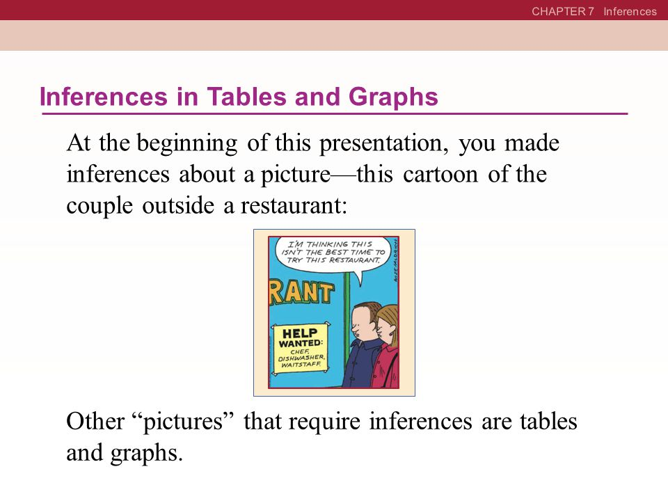 Inferences in Tables and Graphs
