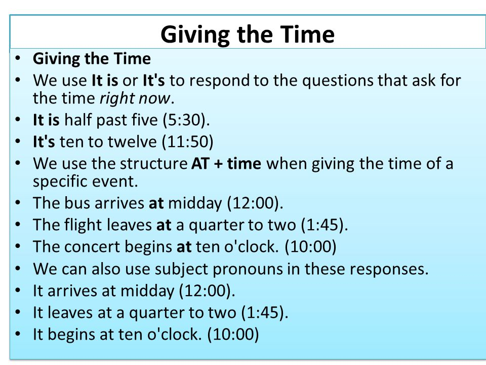 Giving the Time Giving the Time