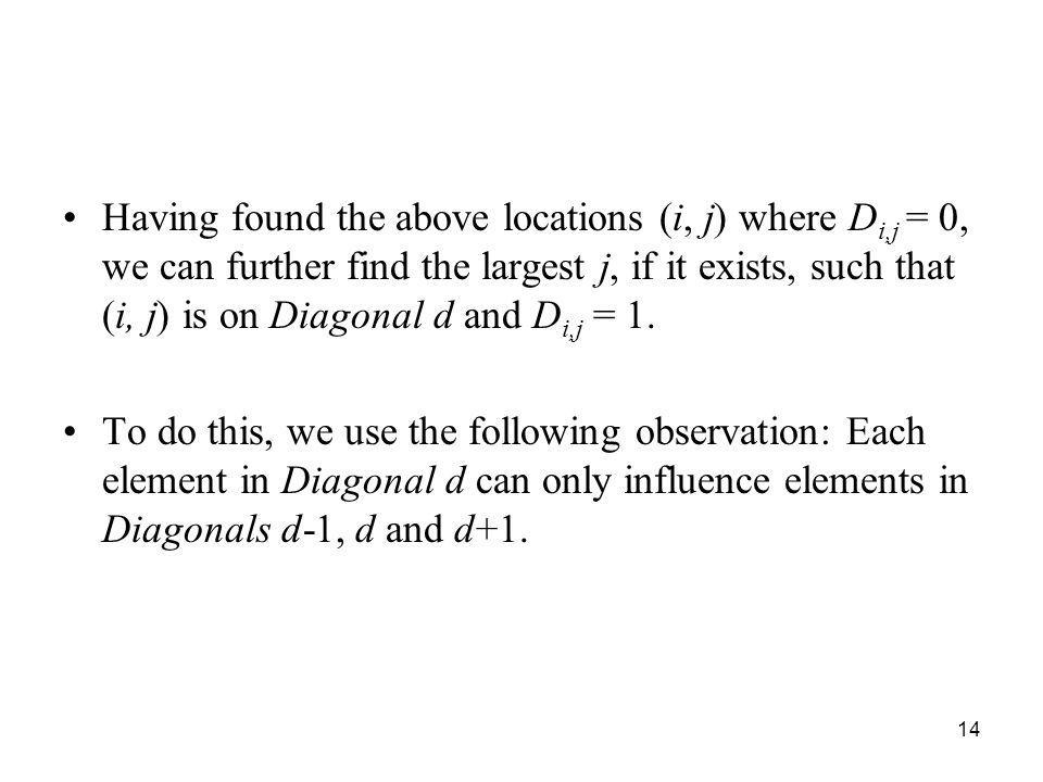 Having found the above locations (i, j) where Di,j = 0, we can further find the largest j, if it exists, such that (i, j) is on Diagonal d and Di,j = 1.