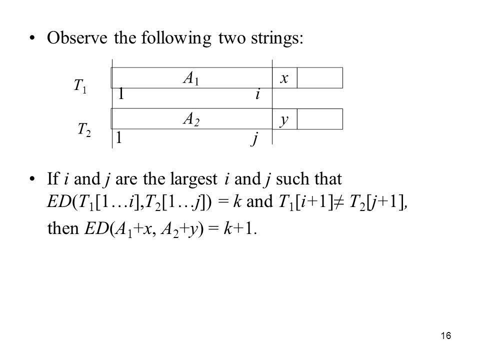 Observe the following two strings: