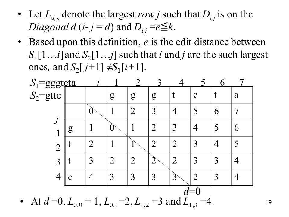Let Ld,e denote the largest row j such that Di,j is on the Diagonal d (i- j = d) and Di,j =e≦k.