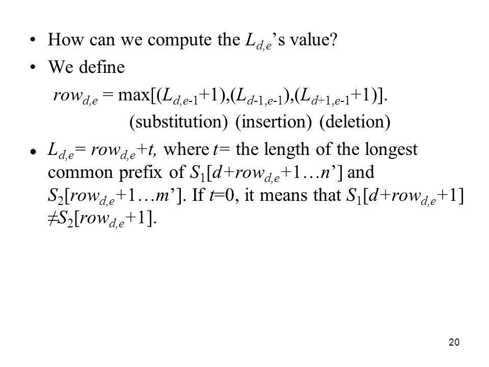 How can we compute the Ld,e's value