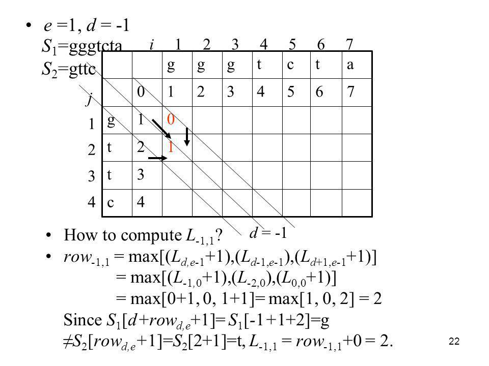 e =1, d = -1 S1=gggtcta S2=gttc How to compute L-1,1