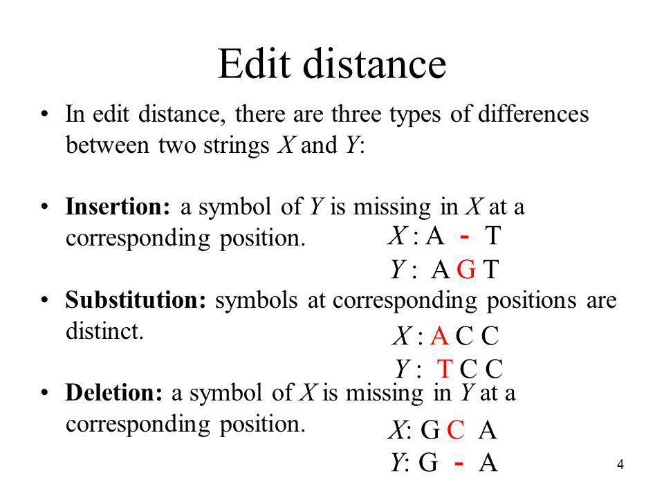 Edit distance X : A - T Y : A G T X : A C C Y : T C C X: G C A