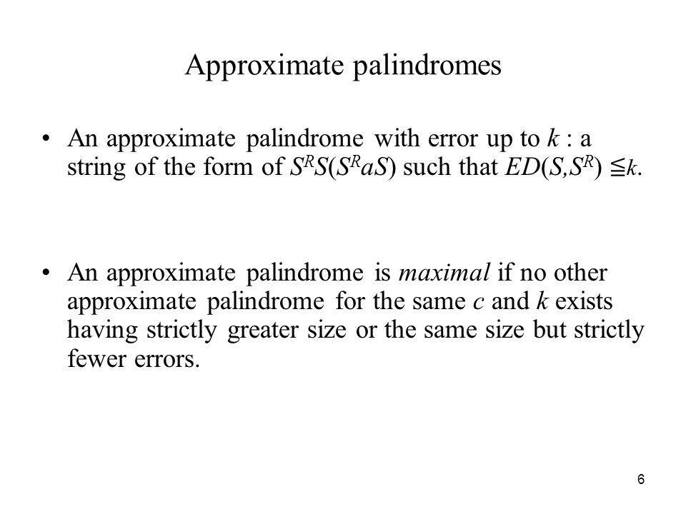 Approximate palindromes