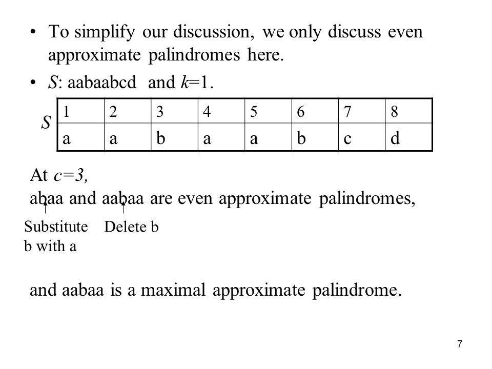 abaa and aabaa are even approximate palindromes,