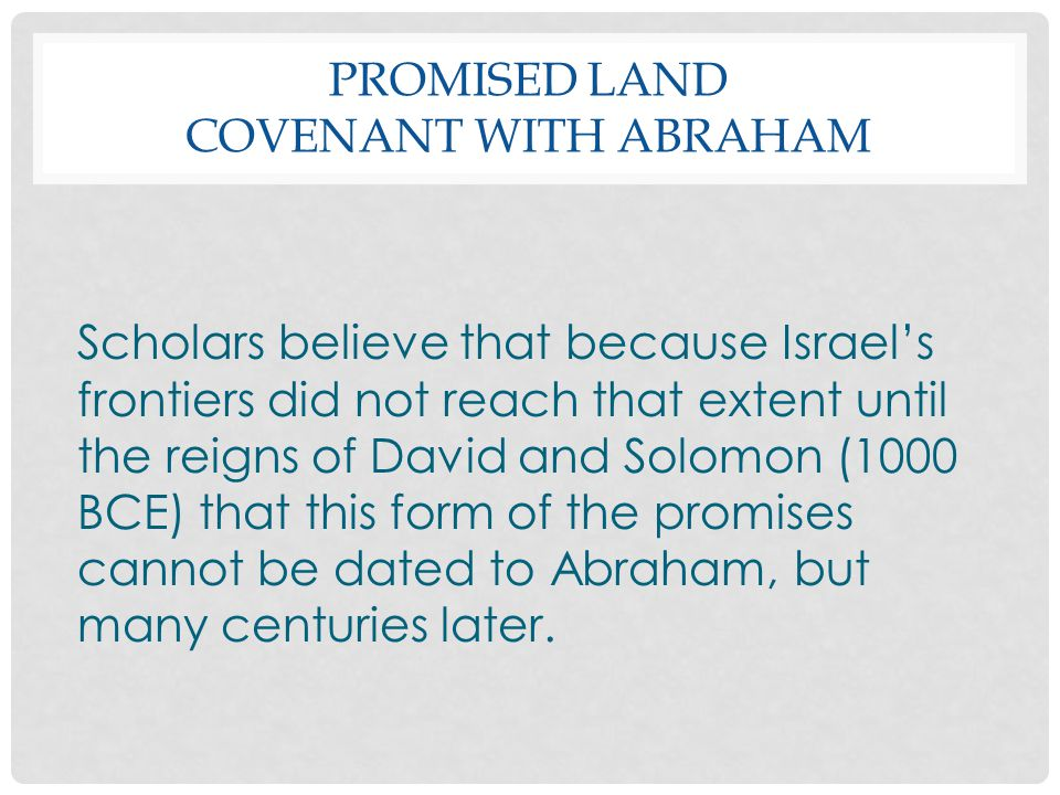 Promised Land Covenant with Abraham