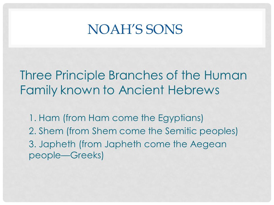 Noah's Sons Three Principle Branches of the Human Family known to Ancient Hebrews. 1. Ham (from Ham come the Egyptians)