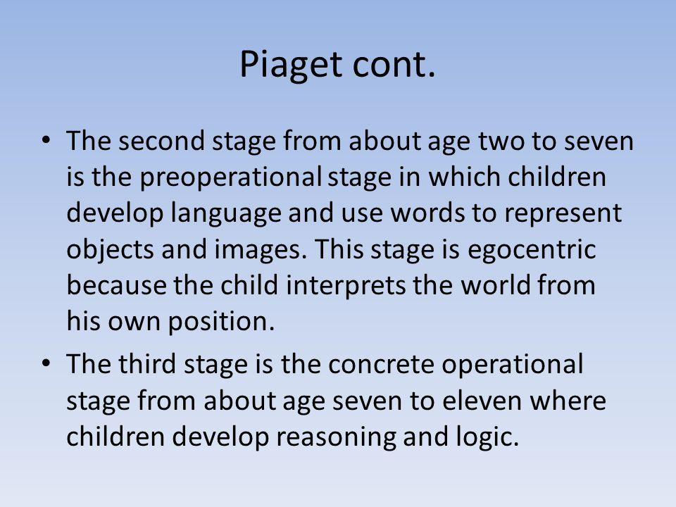 Piaget cont.