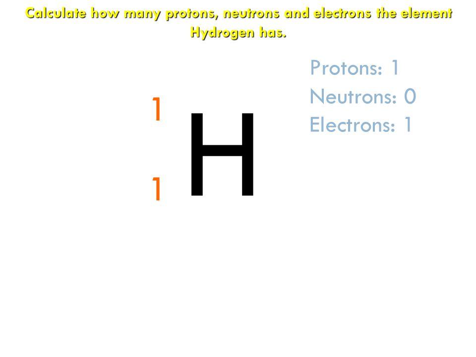 H 1 1 Protons: 1 Neutrons: 0 Electrons: 1
