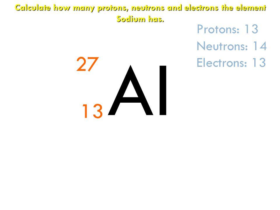 Al 27 13 Protons: 13 Neutrons: 14 Electrons: 13