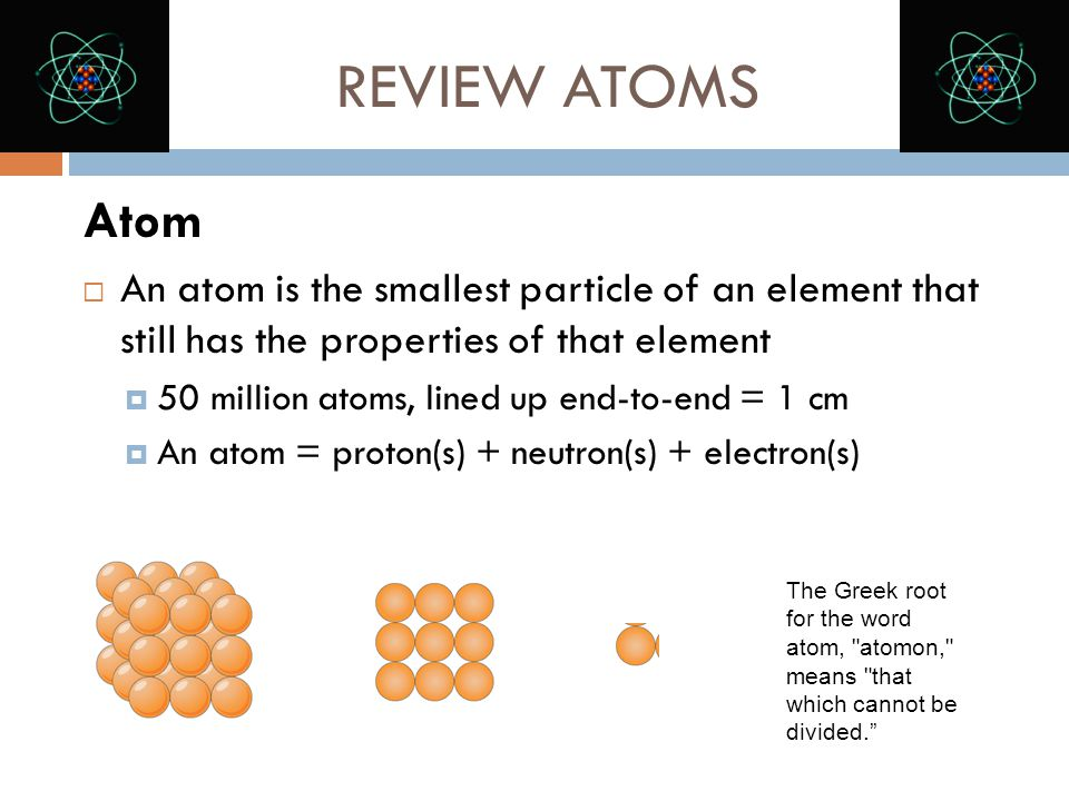 REVIEW ATOMS Atom. An atom is the smallest particle of an element that still has the properties of that element.
