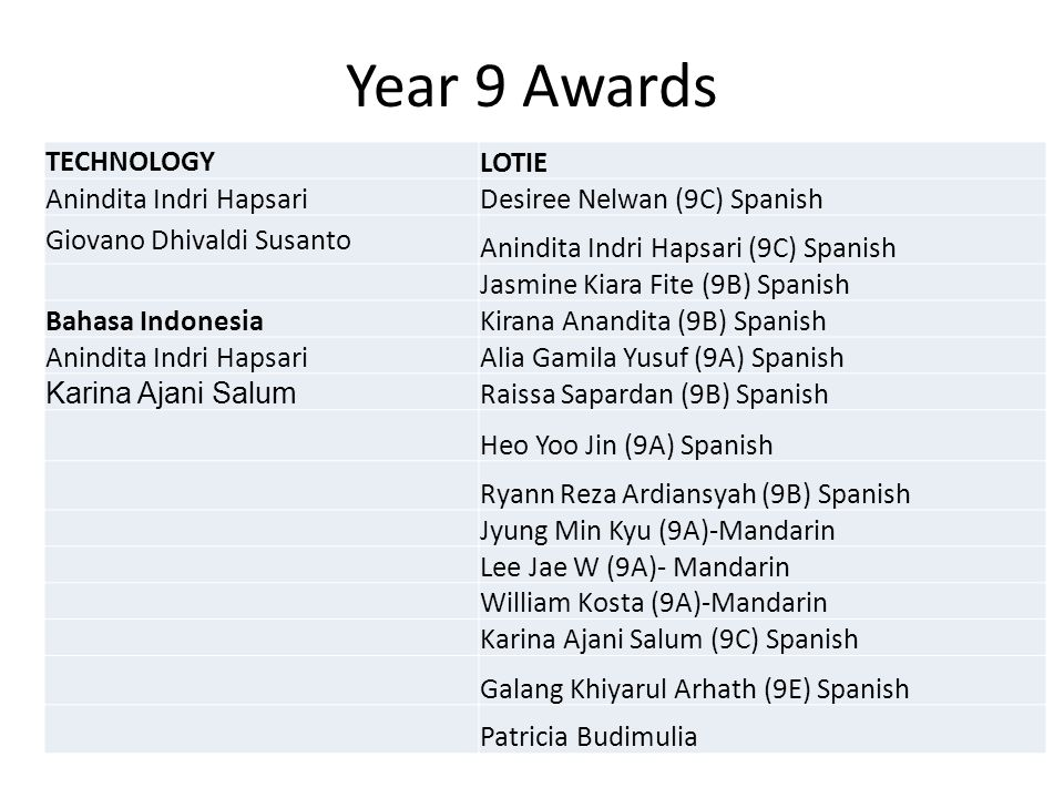 Year 9 Awards TECHNOLOGY LOTIE Anindita Indri Hapsari