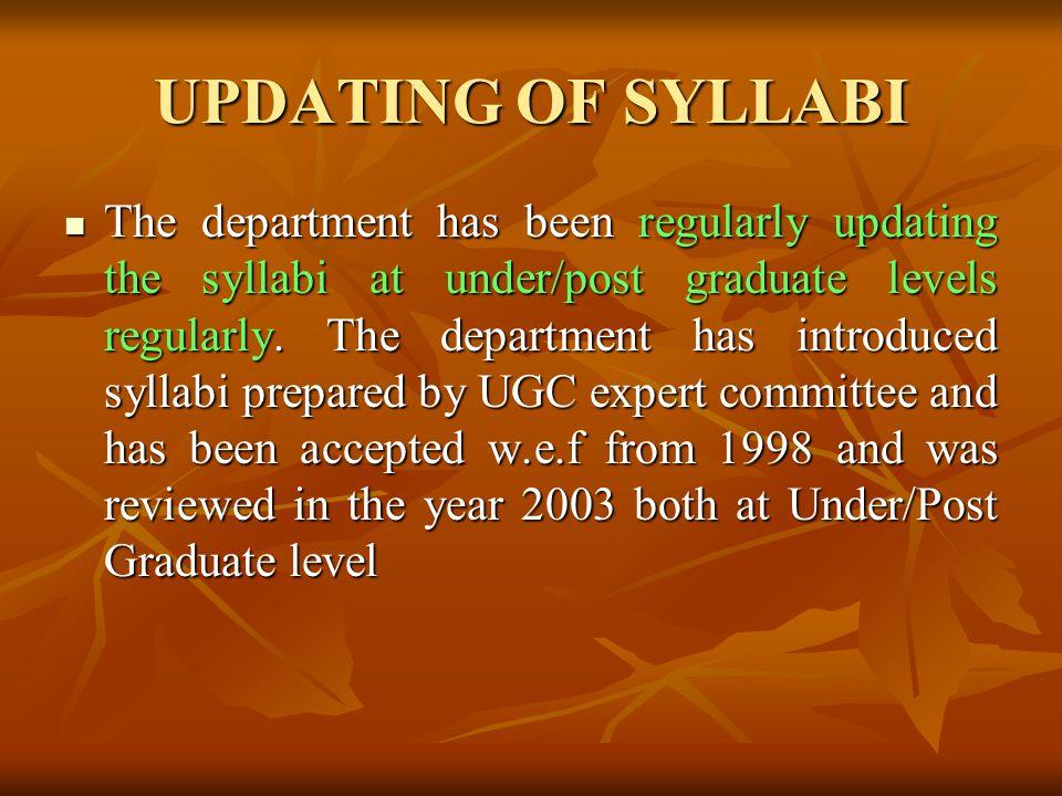 UPDATING OF SYLLABI
