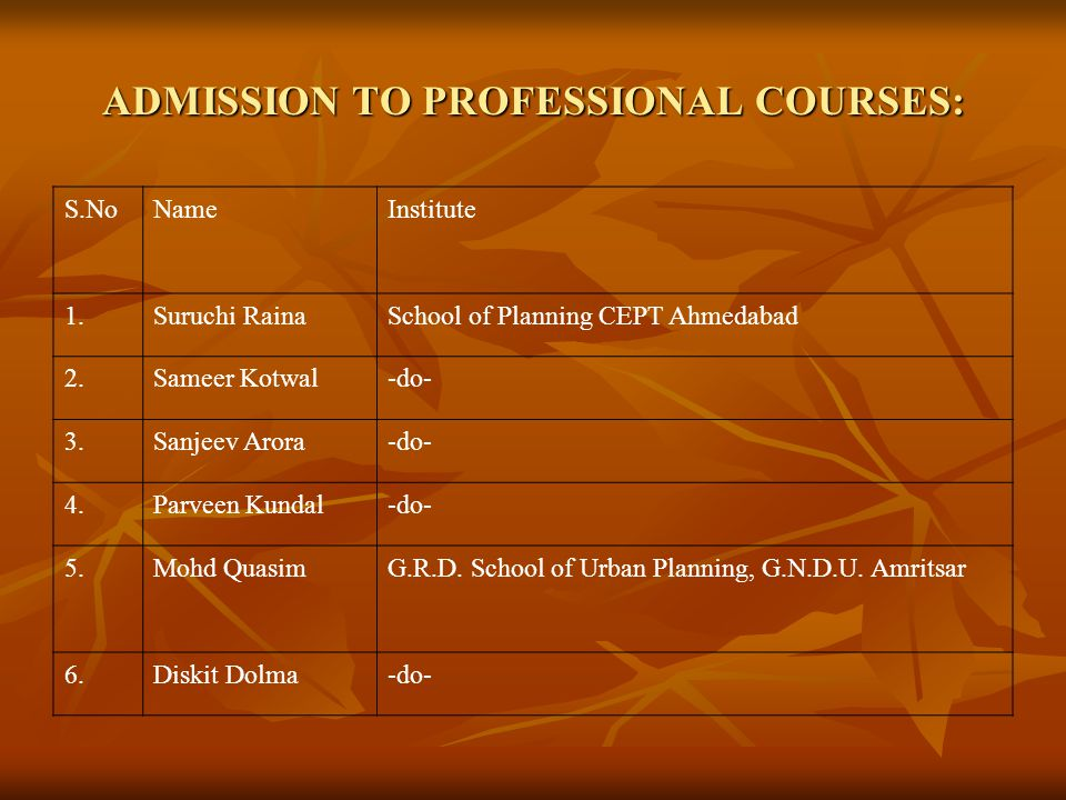ADMISSION TO PROFESSIONAL COURSES: