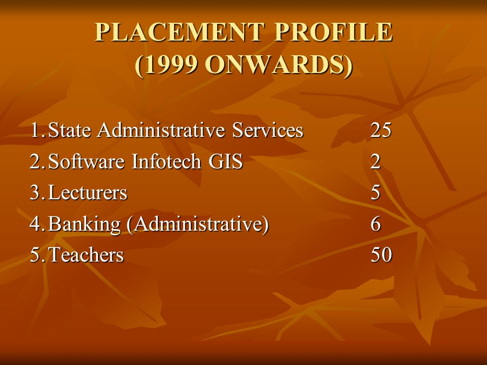 PLACEMENT PROFILE (1999 ONWARDS)