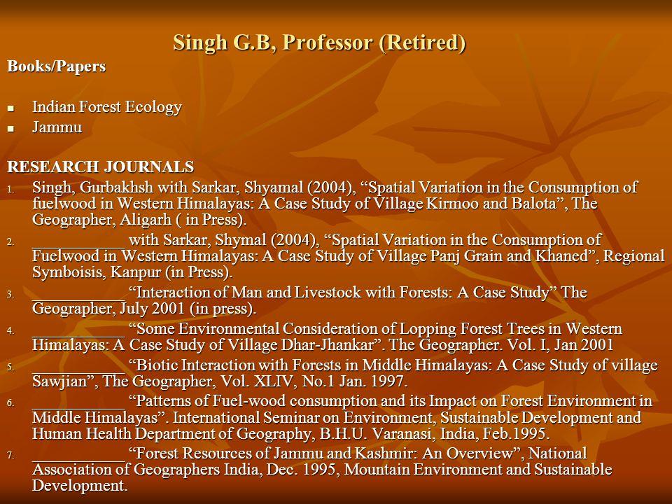 Singh G.B, Professor (Retired)