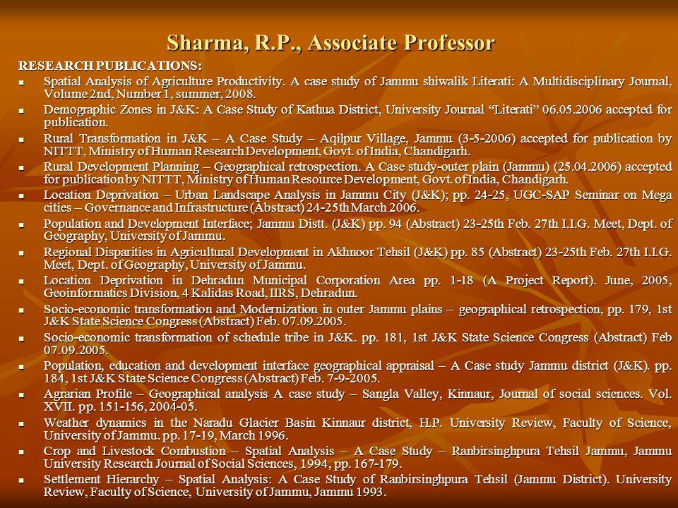 Sharma, R.P., Associate Professor