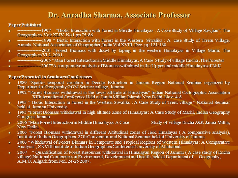 Dr. Anradha Sharma, Associate Professor
