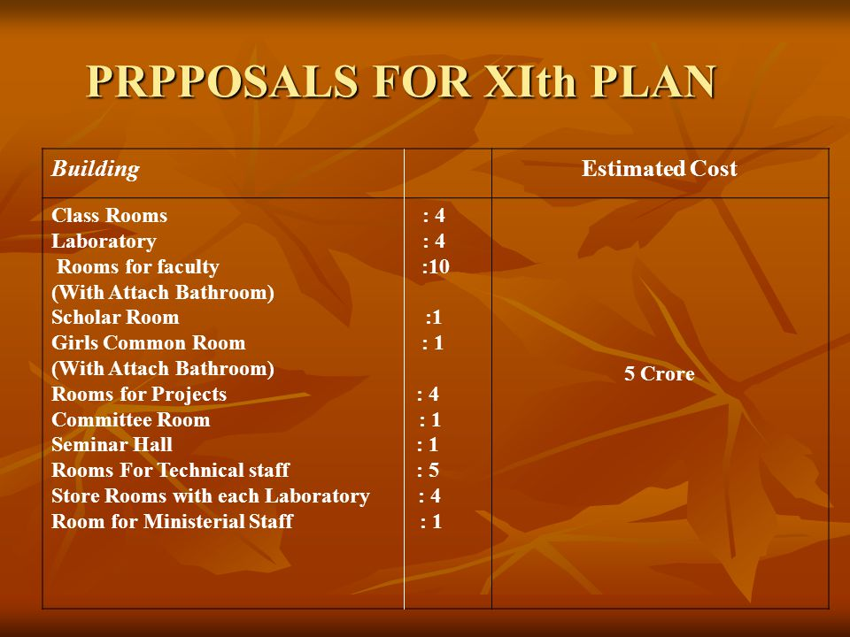 PRPPOSALS FOR XIth PLAN