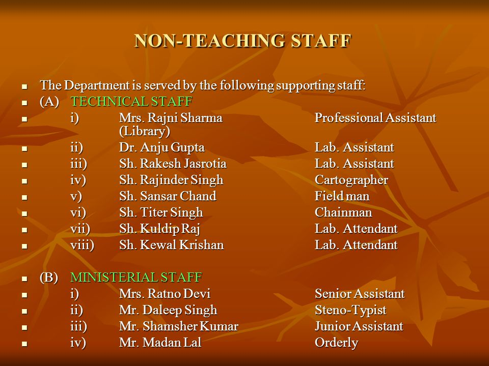 NON-TEACHING STAFF The Department is served by the following supporting staff: (A) TECHNICAL STAFF.