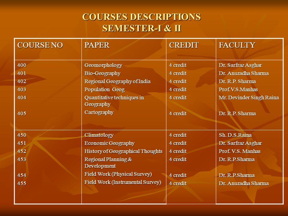 COURSES DESCRIPTIONS SEMESTER-I & II