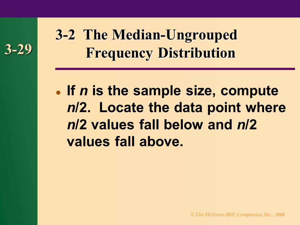 3-2 The Median-Ungrouped Frequency Distribution