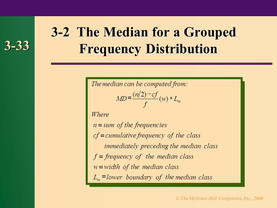 3-2 The Median for a Grouped Frequency Distribution