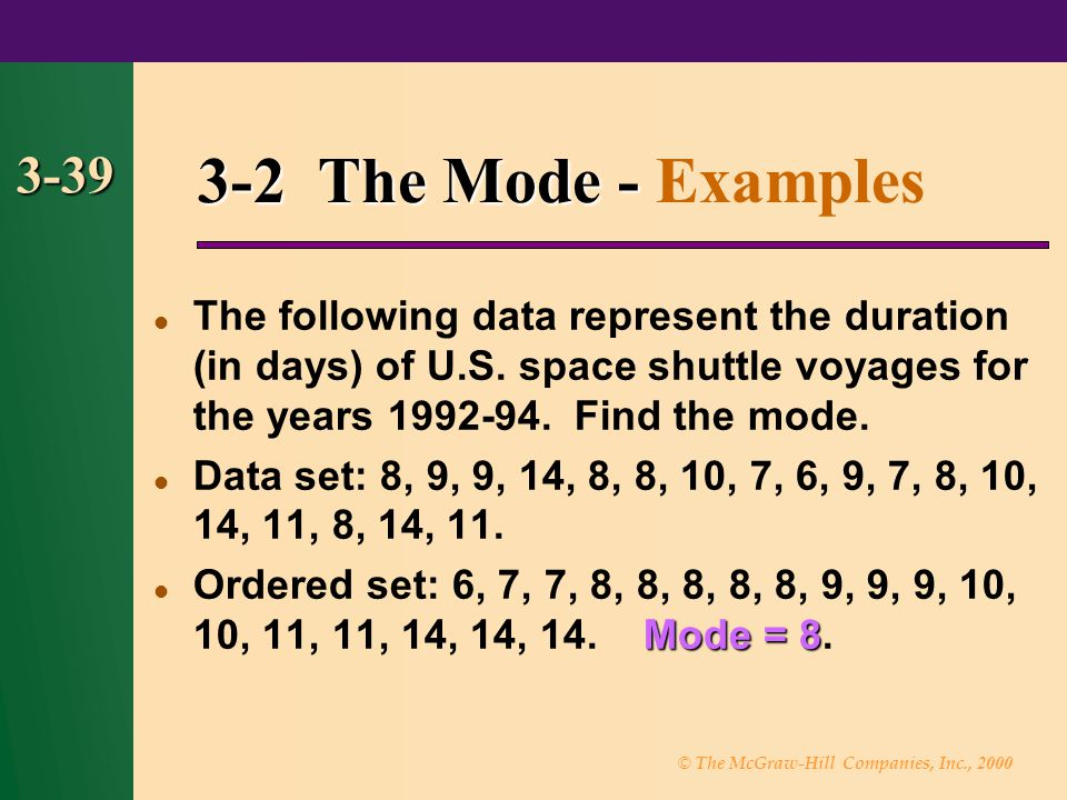 3-2 The Mode - Examples 3-39.