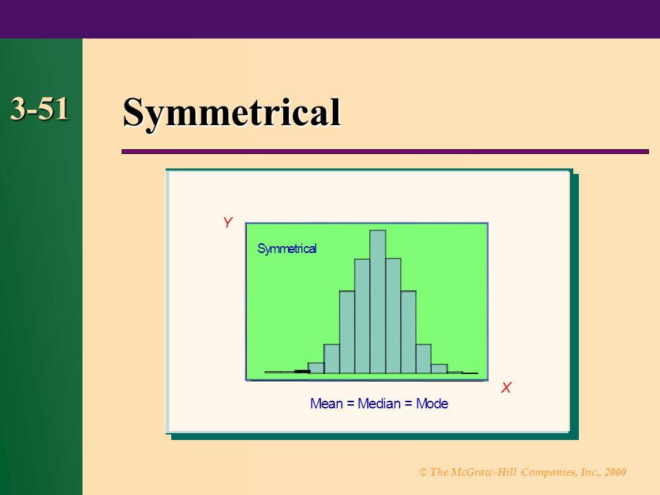 Symmetrical 3-51 Y X M e a n = M e d i a n = M o d e S y m m e t r i c