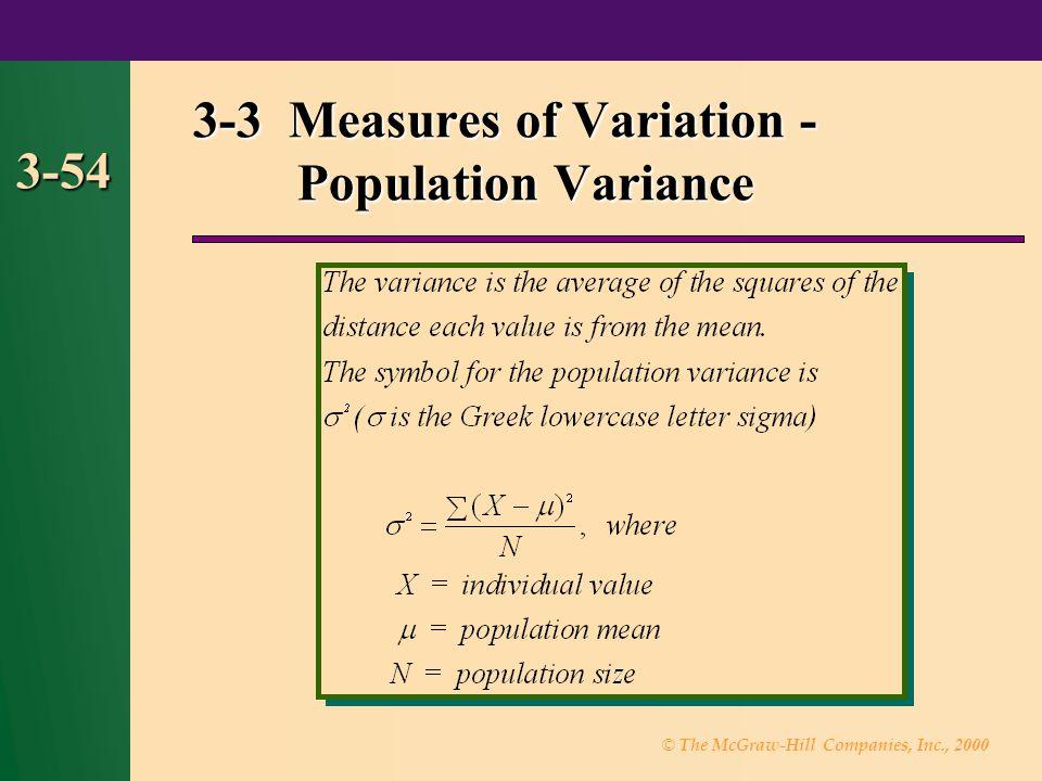 3-3 Measures of Variation - Population Variance
