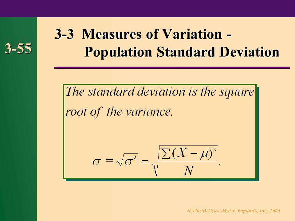 3-3 Measures of Variation - Population Standard Deviation