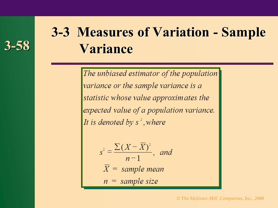 3-3 Measures of Variation - Sample Variance