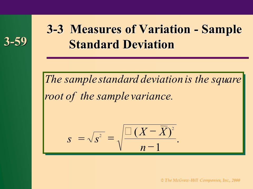 3-3 Measures of Variation - Sample Standard Deviation