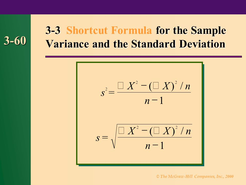 3-3 Shortcut Formula for the Sample Variance and the Standard Deviation