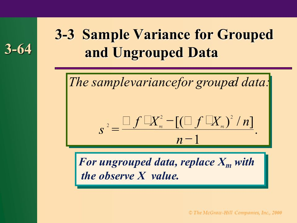 3-3 Sample Variance for Grouped and Ungrouped Data