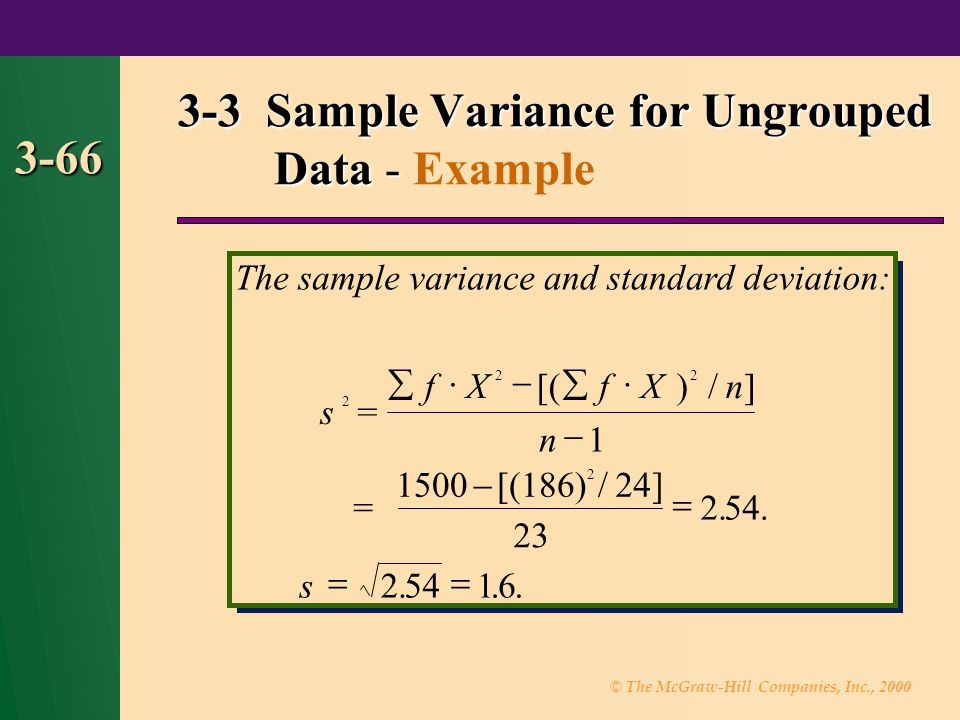 3-3 Sample Variance for Ungrouped Data - Example