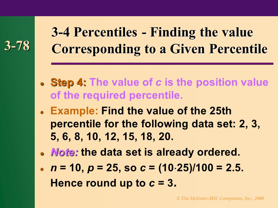 3-4 Percentiles - Finding the value Corresponding to a Given Percentile