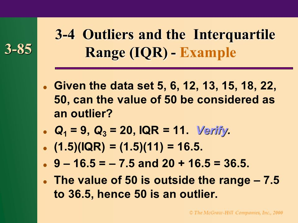 3-4 Outliers and the Interquartile Range (IQR) - Example